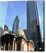 Philadelphia Street Level - Skyscrapers And Classical Building View Acrylic Print