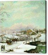 Philadelphia Winter Landscape Ca. 1830 - 1845 By Thomas Birch Acrylic Print