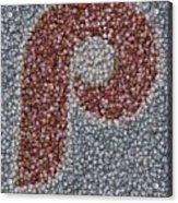 Philidelphia Phillies Baseballs Mosaic Acrylic Print
