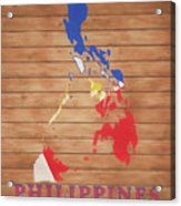 Philippines Rustic Map On Wood Acrylic Print