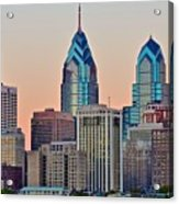 Philly At Sunset Acrylic Print