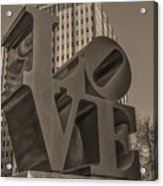 Philly Esque  - Love Statue In Sepia Acrylic Print
