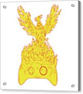 Phoenix Rising Fiery Flames Over Game Controller Drawing Acrylic Print