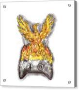 Phoenix Rising Over Burning Game Controller Tattoo Acrylic Print