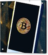 Phone With A Bitcoin Laying On Top Of It. Acrylic Print