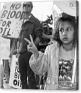 Photography Homage Alfred Eisenstadt Hispanic Girl V For Victory Sign Anti Gulf War Rally Tucson Az Acrylic Print