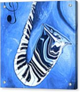 Piano Keys In A Saxophone Blue - Music In Motion Acrylic Print