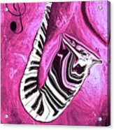 Piano Keys In A Saxophone Hot Pink - Music In Motion Acrylic Print