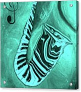 Piano Keys In A  Saxophone Teal Music In Motion Acrylic Print