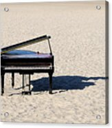 Piano On Beach Acrylic Print by Hans Joachim Breuer