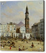 Piazza Mazaniello In Naples Acrylic Print by Jean Auguste Bard
