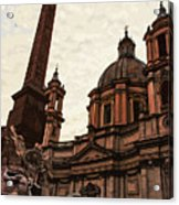 Piazza Navona At Sunset, Rome Acrylic Print