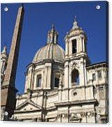 Piazza Navona. Navona Place. Church St. Angnese In Agona And Egyptian Obelisk. Rome Acrylic Print by Bernard Jaubert