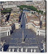 Piazza San Pietro And Colonnaded Square As Seen From The Dome Of Saint Peter's Basilica - Rome, Ital Acrylic Print