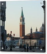 Piazzetta San Marco In Venice In The Morning With Sweepers Acrylic Print