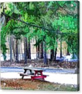Picnic Area With Wooden Tables 3 Acrylic Print