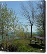 Picnic Table By The Lake Photo Acrylic Print