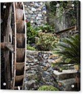 Pictueresque Waterwheel In Cinqueterre Garden Acrylic Print