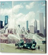 Picture Of Buckingham Fountain With Chicago Skyline Acrylic Print