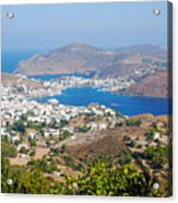 Picturesque View Of Skala Greece On Patmos Island Acrylic Print