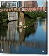 Picturesque View Of The Railroad Graffiti Bridge Over Lady Bird Lake As Canoes And Kayakers Paddle Under The Bridge On A Beautiful Summers Day Acrylic Print