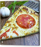 Piece Of Margarita Pizza With Fresh Ingredients Acrylic Print