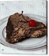 Piece Of Pine Cake With Cherry. Acrylic Print