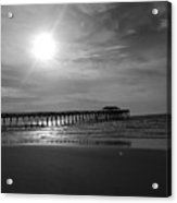 Pier At Myrtle Beach In Black And White Acrylic Print