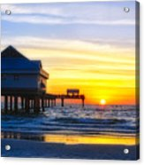 Pier  At Sunset Clearwater Beach Florida Acrylic Print by George Oze
