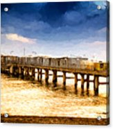 Pier At Sunset Oil Painting Photograph Acrylic Print
