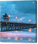Pier In Blue Panorama Acrylic Print