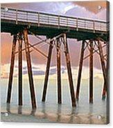 Pier On Beach During Sunrise, Playas De Acrylic Print
