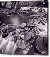 Pigeon Forge River Great Smoky Mountains Bw Acrylic Print