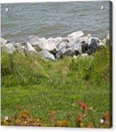 Pile Of Rocks On Shoreline Acrylic Print