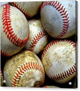 Pile Or Stack Of Baseballs For Playing Games Acrylic Print