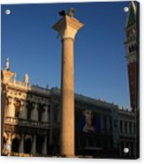 Pillars And Bell Tower At San Marco In Venice Acrylic Print