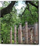 Pillars Of Sheldon Church Ruins Acrylic Print