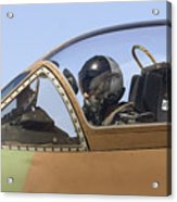 Pilot In The Cockpit Of A Skyhawk Fighter Jet  Acrylic Print