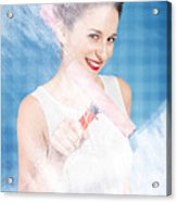 Pin Up Cleaning Lady Washing Glass Shower Door Acrylic Print