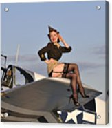 Pin-up Girl Sitting On The Wing Acrylic Print by Christian Kieffer