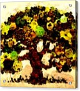 Pinatamiche Tree Painting In Crackle Paint Acrylic Print