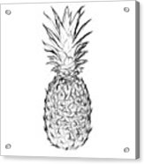 Pineapple Black And White Acrylic Print