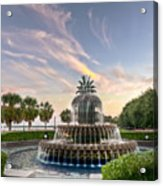 Pineapple Fountain Sunset - Charleston Sc Acrylic Print by Drew Castelhano