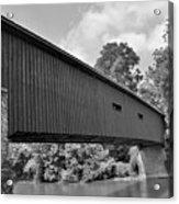 Pinetown Bushong's Covered Bridge Black And White Acrylic Print