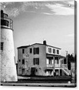 Piney Point Lighthouse - Mayland - Black And White Acrylic Print
