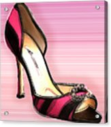 Pink And Black Stripe Shoe Acrylic Print