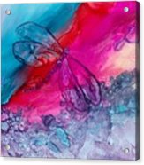 Pink And Blue Dragonflies Acrylic Print
