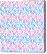 Pink And Blue Elephant Pattern Acrylic Print