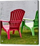 Pink And Green Lounging Chairs By The Lake Acrylic Print by Louise Heusinkveld