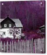 Pink And Purple Enchanted Cottage Acrylic Print